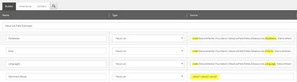 value list template view